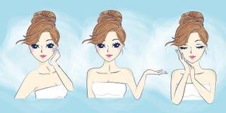Cuidados com a pele da mulher dos desenhos animados ilustração stock