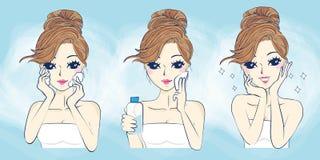 Cuidados com a pele do problema da mulher dos desenhos animados ilustração stock