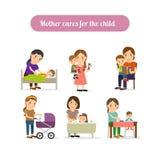 Cuidados de la madre para los caracteres del niño fijados Fotos de archivo libres de regalías