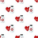 Cuidados médicos da garrafa e do coração de comprimido sem emenda ilustração stock