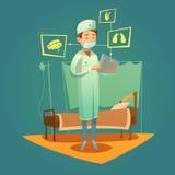 Cuidados médicos do doutor And High Tech ilustração stock