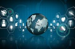 Cuidados médicos do globo médicos e conceito do ícone da ciência Imagem de Stock Royalty Free