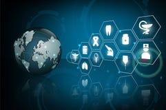 Cuidados médicos do globo médicos e conceito do ícone da ciência Imagens de Stock