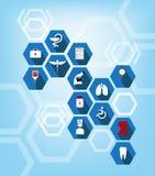 Cuidados médicos e fundo médico do sumário do ícone Fotografia de Stock Royalty Free