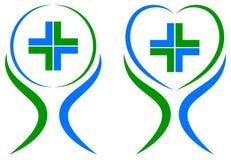 cuidados médicos mais o logotipo ilustração stock