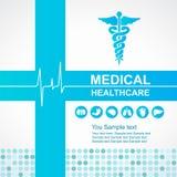 Cuidados médicos médicos - a cruz e o Caduceus e as ondas azuis do vetor do ícone dos órgãos do coração e do corpo projetam Foto de Stock Royalty Free