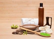 Cuidar productos y los accesorios del cuidado en exceso del baño y del cuerpo Fotos de archivo libres de regalías