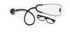 Cuide el escritorio del ` s con los accesorios y los productos médicos Fotografía de la visión superior Imagenes de archivo