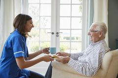 Cuide el servicio de una taza de té a un hombre mayor en casa, cerca para arriba fotografía de archivo libre de regalías