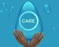 Cuide escrito en burbuja y la mano formadas huevo del agua en el ejemplo inferior Foto de archivo libre de regalías