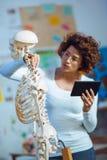 Cuide la anatomía de enseñanza de la mujer usando modelo esquelético humano Fotos de archivo