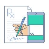 Cuide la firma de un espacio en blanco del rx de la prescripción por el teléfono Medicina en línea Fotos de archivo