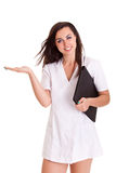 Cuide a la mujer aislada en el personal médico del fondo blanco Fotografía de archivo