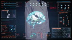 Cuide la pantalla digital conmovedora, cerebro conectan líneas digitales en el tablero de instrumentos del indicador digital, amp ilustración del vector