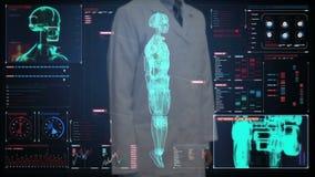Cuide la pantalla digital conmovedora, explorando semi al cuerpo del cyborg del robot de la transparencia en interfaz digital Int ilustración del vector