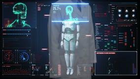 Cuide la pantalla digital conmovedora, explorando semi al cuerpo del cyborg del robot de la transparencia en interfaz digital Int almacen de metraje de vídeo