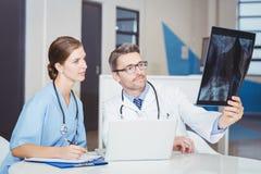 Cuide la radiografía de examen con el colega que se sienta en el escritorio Fotografía de archivo libre de regalías