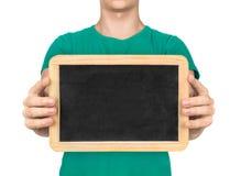 Cuide llevar a cabo al tablero para comunicar con la gente sorda Imagenes de archivo