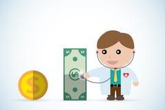 Cuide sostener el estetoscopio para comprobar la salud del dinero, concepto del negocio Imagen de archivo libre de regalías