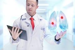Cuide sostener los órganos humanos y la tableta en un hospital De alta resolución Imágenes de archivo libres de regalías
