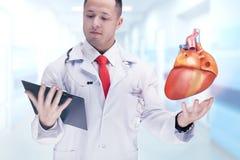 Cuide sostener los órganos humanos y la tableta en un hospital De alta resolución Fotografía de archivo libre de regalías