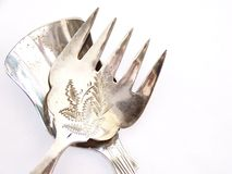 Cuillère antique de fourchette et d'antiquité Image stock
