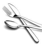 Cuillère croisée de fourchette de couteau - image courante Images stock