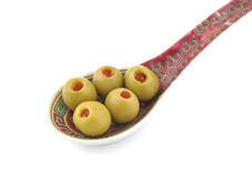 Cuillère d'olives Photos libres de droits