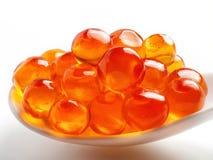 Cuillère de caviar rouge Photo stock