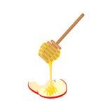 Cuillère de miel et icône d'Apple dans le style plat Image stock