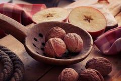 Cuillère en bois antique avec les noix et la pomme Image libre de droits