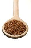 Cuillère en bois avec des graines de cresson Photo stock