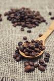 Cuillère en bois avec des grains de café Photographie stock