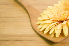 Cuillère en bois avec une fleur jaune photographie stock