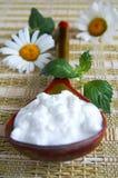 Cuillère en bois de Khokhloma avec le fromage blanc Photographie stock libre de droits