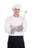 Cuillère en bois de participation de bras de croisement de chef Photo stock