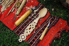Cuillère en bois faite main Photographie stock
