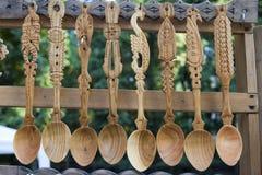 Cuillère en bois traditionnelle Photographie stock libre de droits
