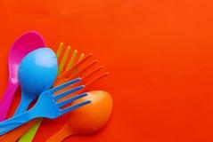Cuillère en plastique colorée Photo libre de droits