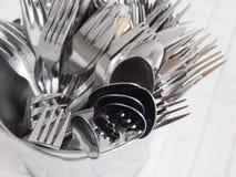 Cuillère et acier inoxydable de fourchette image libre de droits