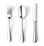 Cuillère et couteau de fourchette Photographie stock libre de droits