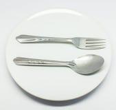 Cuillère et fourchette Photos stock