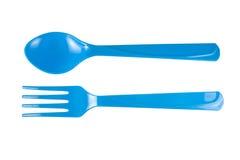 Cuillère et fourchette bleues Photographie stock
