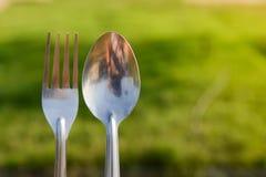 Cuillère et fourchette pendant le pique-nique à l'arrière-plan d'herbe verte Photographie stock libre de droits