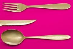 Cuillère, fourchette et couteau Photos stock