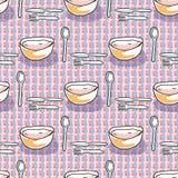 Cuillère, fourchette, illustration tirée par la main sans couture f de modèle de nourriture de vecteur de bol de soupe à cout illustration libre de droits