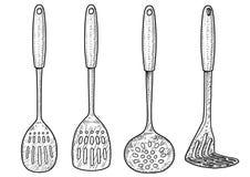 Cuillère, illustration de broyeur, dessin, gravure, encre, schéma, vecteur illustration de vecteur