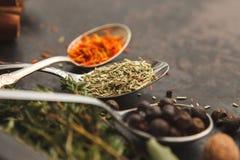 Cuillères avec des herbes et des épices sur la vieille table foncée Image libre de droits