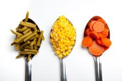 Cuillères de cuisine avec des légumes Images stock