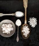 Cuillères de vintage de sel Photos stock